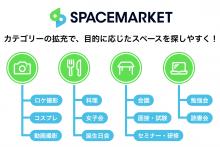 レンタルスペースの利用ニーズ多様化を受け、スペースマーケットが利用目的のカテゴリーを拡充